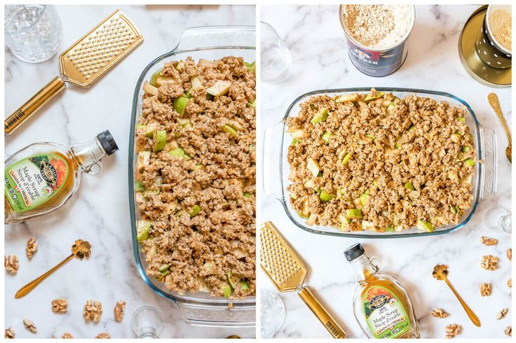 The best healthy clean eating recipe for a delicious apple crisp (crumble)! It's easy and quick to make, with oatmeal crunchy topping. Gluten free vegan recipe.   www.hedonistit.com