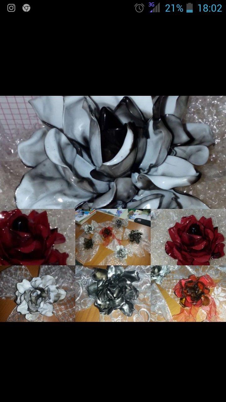 rose realizzate con materiale di riciclo