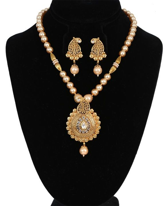High Fashion Bollywood style Gold Plated Pendant Pearl Necklace Set from India