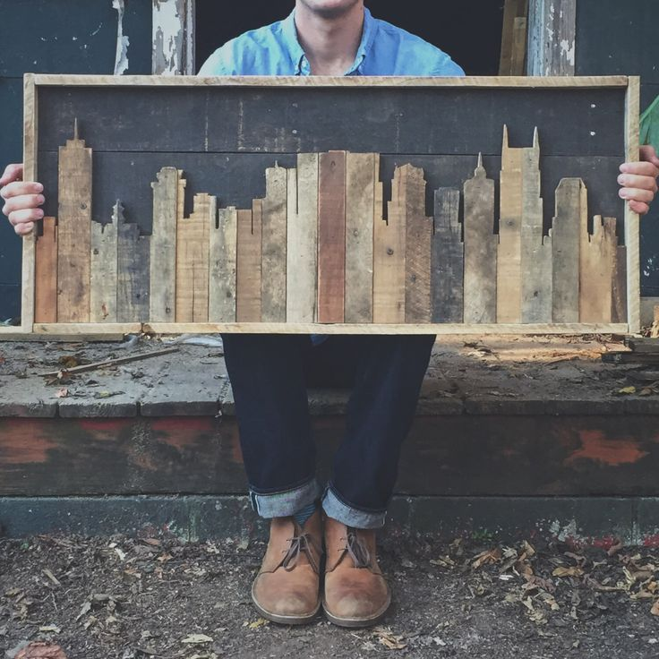 Rustic Nashville Tennessee skyline made from pallet wood by crtcreative on Etsy…
