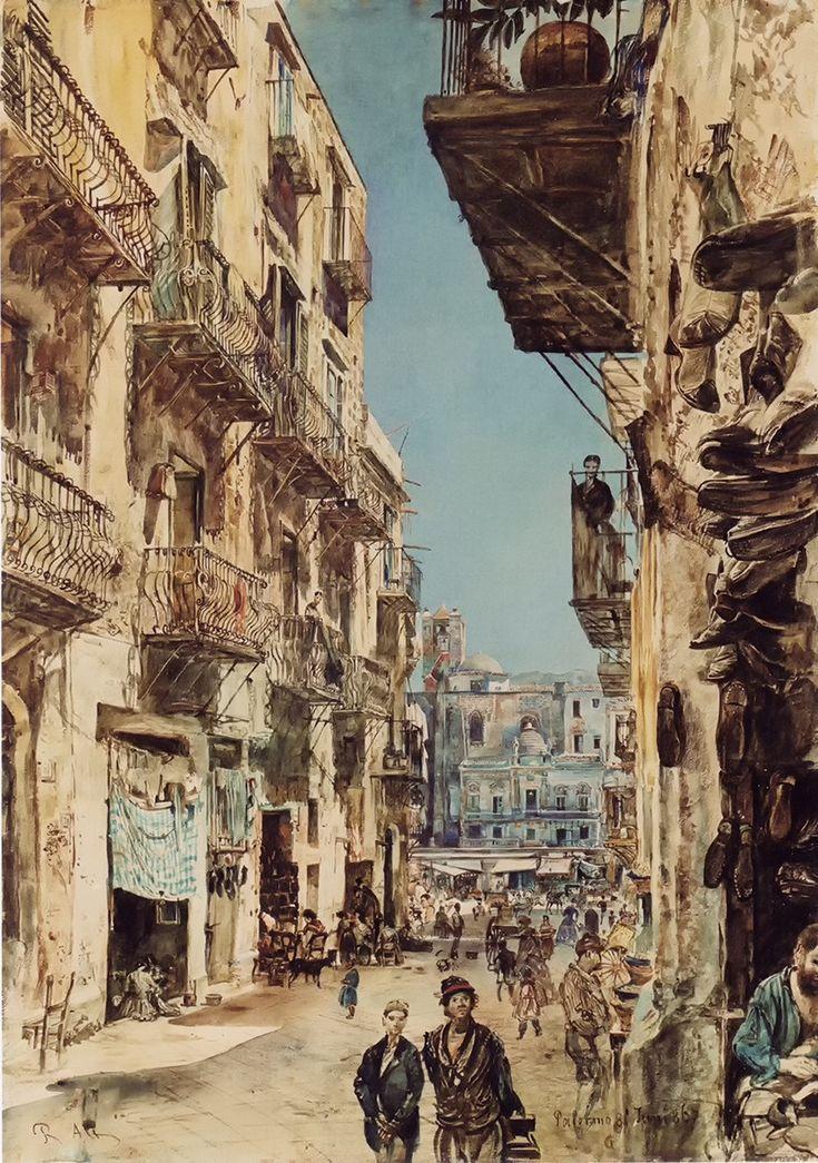 Street in Palermo by Rudolf von Alt, 1867