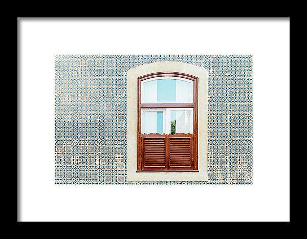 Vintage Wooden Window On Blue Tile Wall In Lisbon, Portugal Framed Print