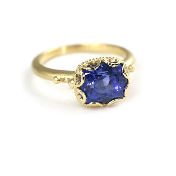 Scalloped Bezel Ring, 18K yellow gold with cushion cut blue sapphire, price upon request, Megan Thorne See more yellow gold engagement rings.