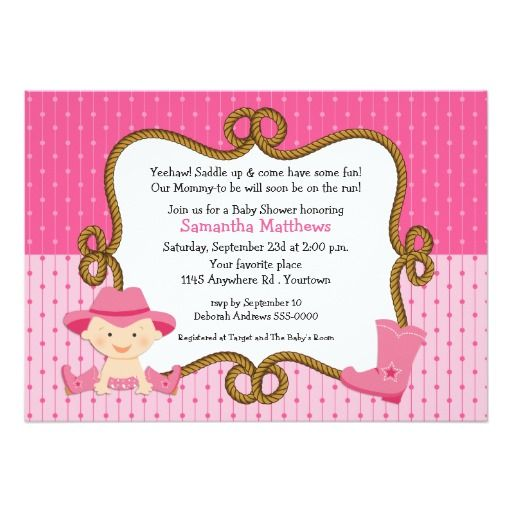 Infant Cowgirl Baby Shower 5x7 Paper Invitation Card