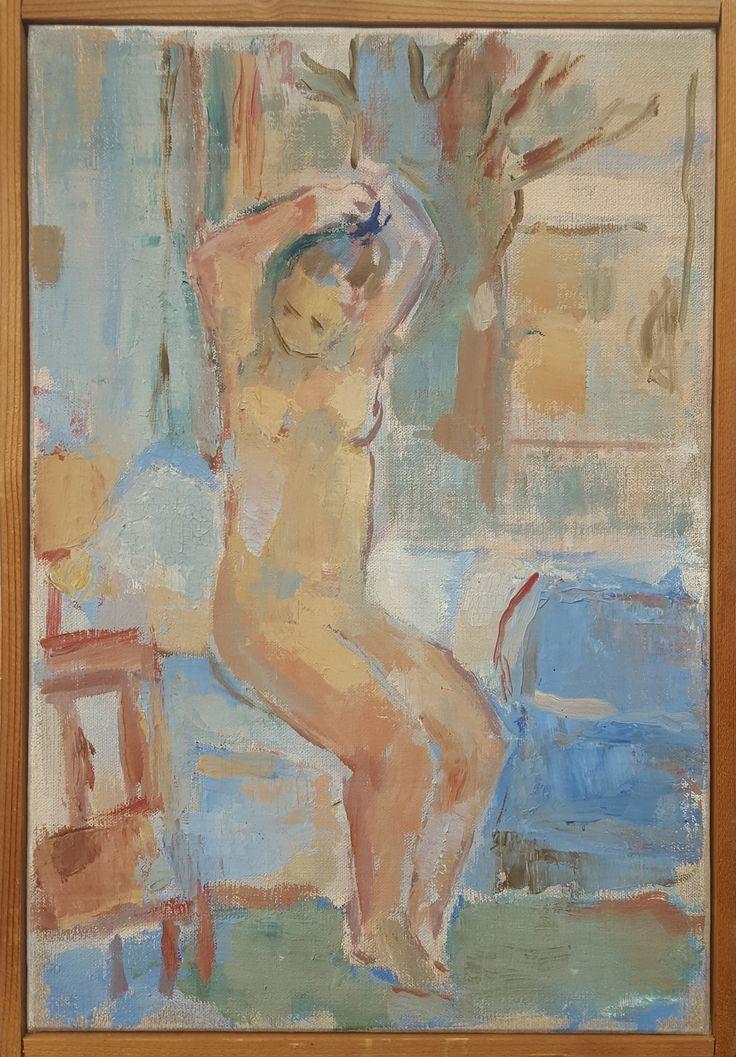 """Friso ten Holt - Voorstudie """" Vrouw in badkamer """" (1968)  olieverf op doek"""
