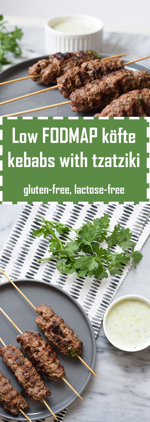 Delicious low FODMAP köfte kebabs with homemade tzatziki. Gluten-free and lactose-free.