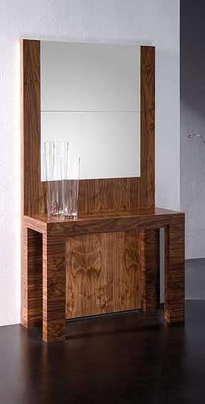Mesa Consola Mirror   Chapa naturalMesa - consola con espejo acabado en madera o laca. Para ver imagenes de otros acabados (imagen 4 y 5).Alto: 75 cms. Ancho: 100 cms. Fondo: 40 cms. ( extensible hasta 232 cms ). Extensible con faldon 48 x (4)Esta pieza se convierte de una consola con espejo como aparece en la fotografia a una mesa de comedor, donde las tres piezas traseras (dos con espejo y una con madera, que queda aparece como trasera de la consola) sirven como extension a la propia m…