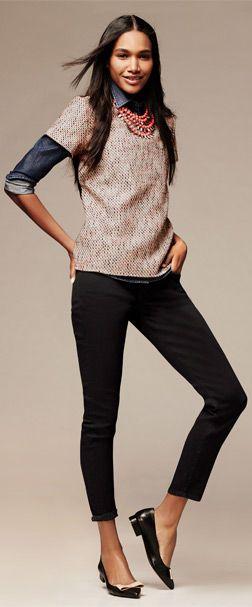 Banana Republic: denim shirt, tweed-front short sleeved top, sloan-fit slim ankle pant, bauble necklace (Jan. 2014)