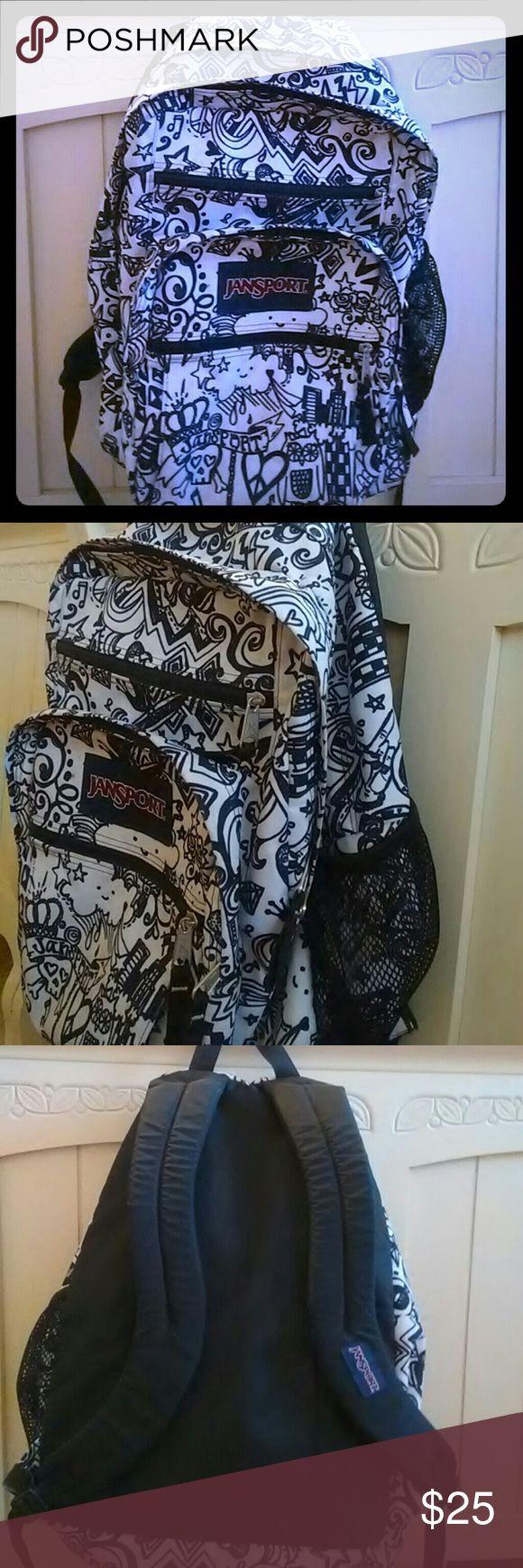 Black and white Jansport Backpack Used once. Black and white. Designed for coloring on Jansport Bags Backpacks