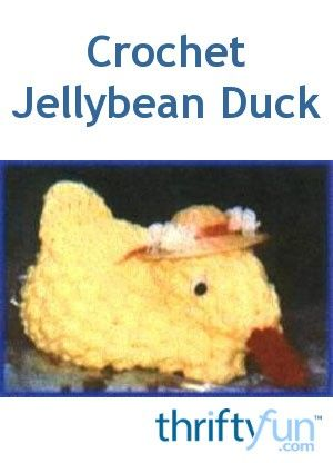 This is a guide about making a crochet jellybean duck. Crochet this cute little duck and add some jellybeans or other small candies to her drawstring pouch.