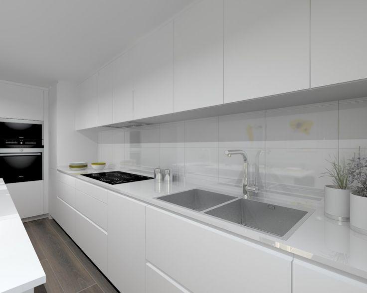 Cocinas modernas blancas affordable cocinas modernas americanas blancas con perfil gola y - Encimeras cocinas blancas ...