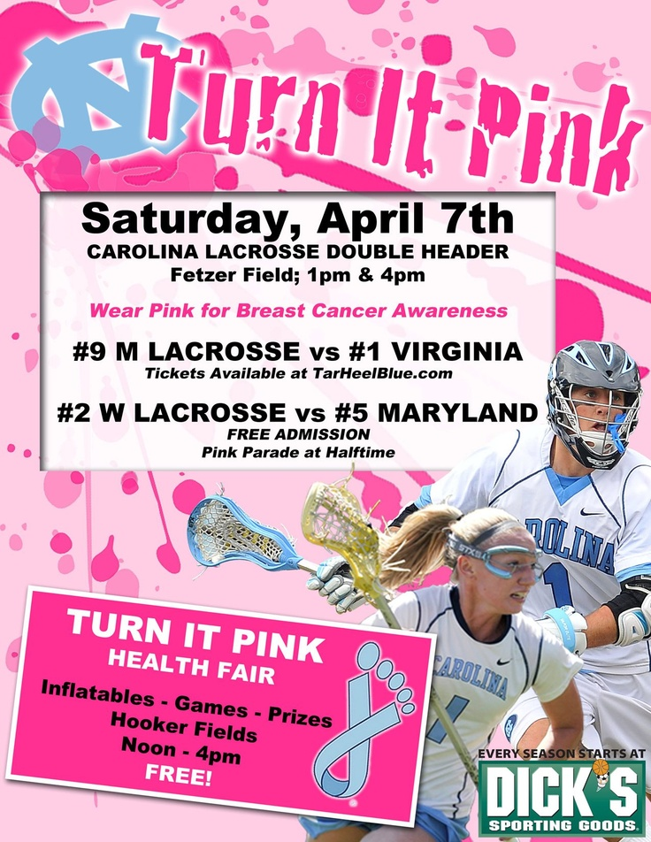 If you're in the UNC-CH area this weekend make sure to come out and support the men's and women's lacrosse team and most importantly breast cancer awareness! The Theta Tau chapter of Zeta Tau Alpha will be passing out pink ribbons to help support this cause!