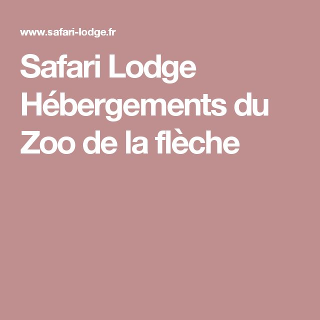 Safari Lodge   Hébergements du Zoo de la flèche