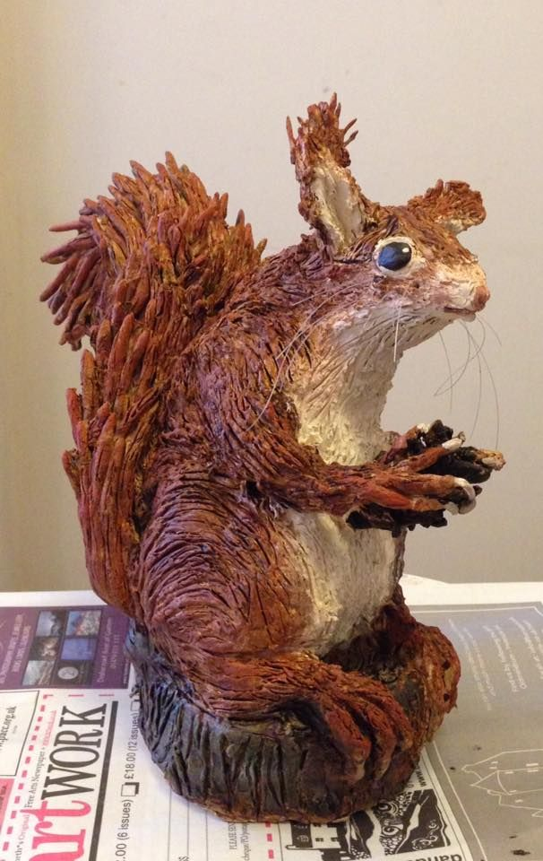 Clay Red squirrel. Painted not glazed this time. Made for class project. 2017 - KN Made at Julian Jardine's beginners clay workshop - Perth.