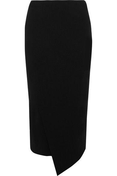 By Malene Birger - Nilanos Asymmetric Wrap-effect Stretch-cady Skirt - Black -