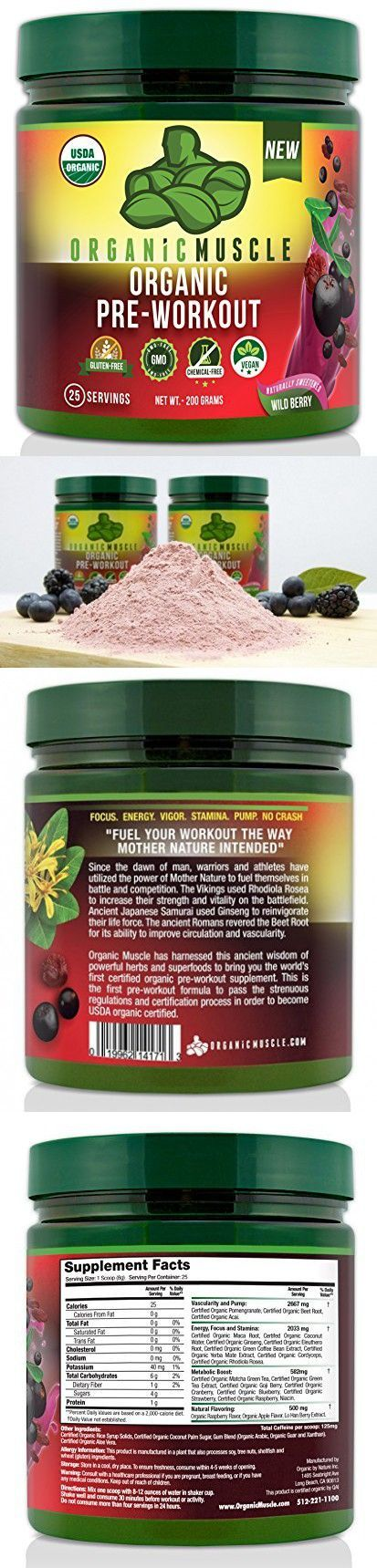 USDA Certified Organic Pre Workout Supplement - Natural Pre Workout & Organic Energy Drink- Non-GMO, Vegan, Paleo, Gluten Free --Wild Berry - 25 Serv.