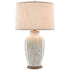 Currey and Company Provenance White Floral Motif Table Lamp