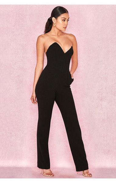62911be78653 Clothing   Jumpsuits    Lucille  Black Crepe Boned Strapless Jumpsuit