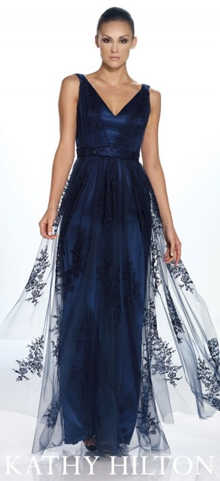 Kathy Hilton • H22014 - Embroidered tulle over charmeuse gown with deep V-neckline. Navy Blue