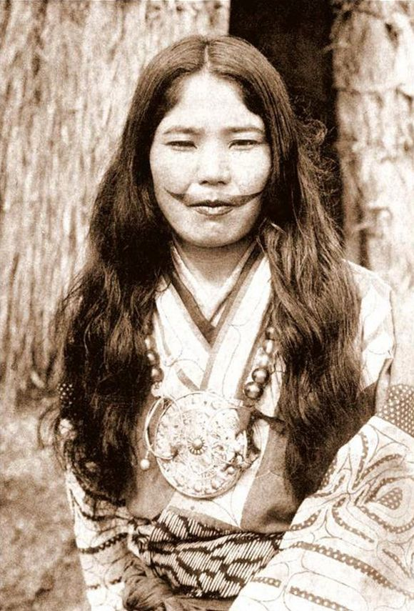 Ainu Female with Traditional Garb and Facial Tattoo