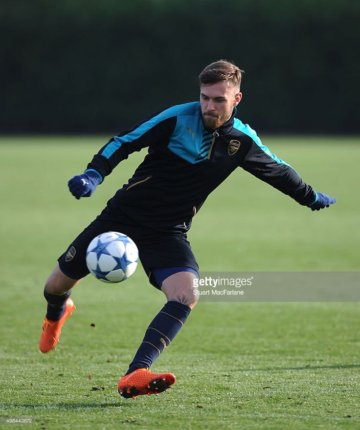 Aaron Ramsey of Arsenal during a training session at London Colney on November 23, 2015 in St Albans, England.