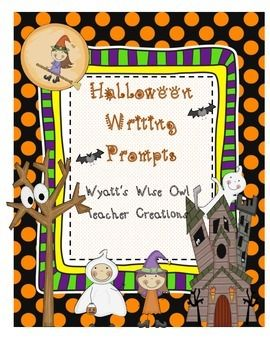Halloween Writing PromptsDollar Deal ItemFun writing Halloween writing prompts with color and black and white stationery paper.