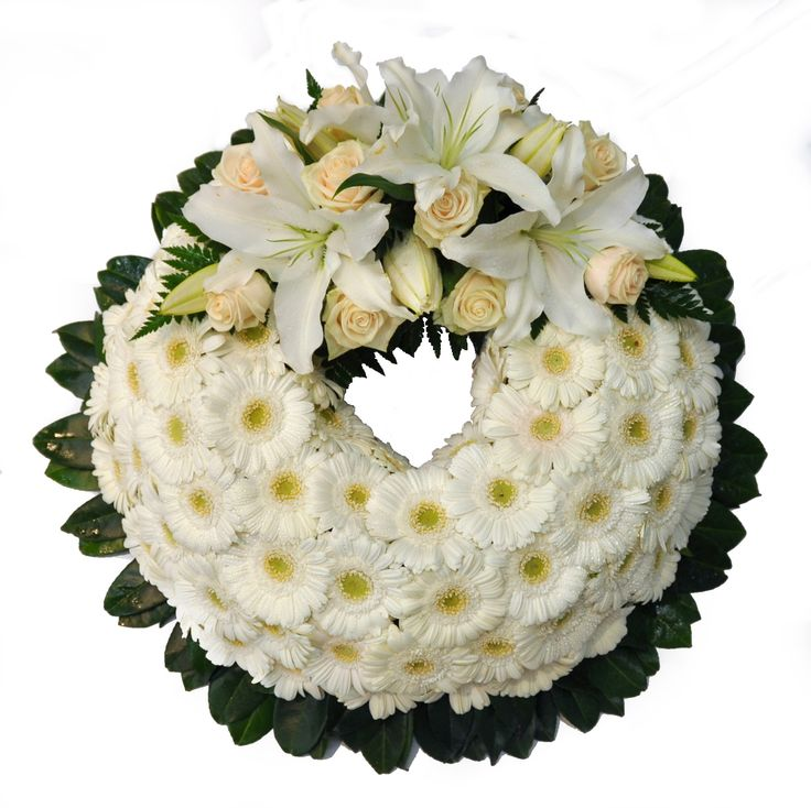 White and cream Wreath - Donvale Flower Gallery