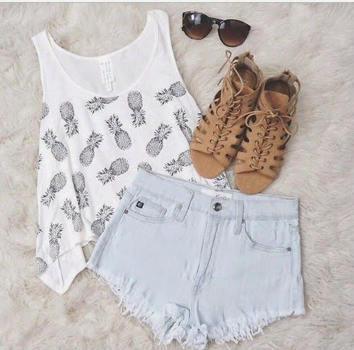 Gorgeous denim sky blue color shorts jeans with top pineapple printed blouse and brown stripes shoes and cute goggles the best and cute summ...