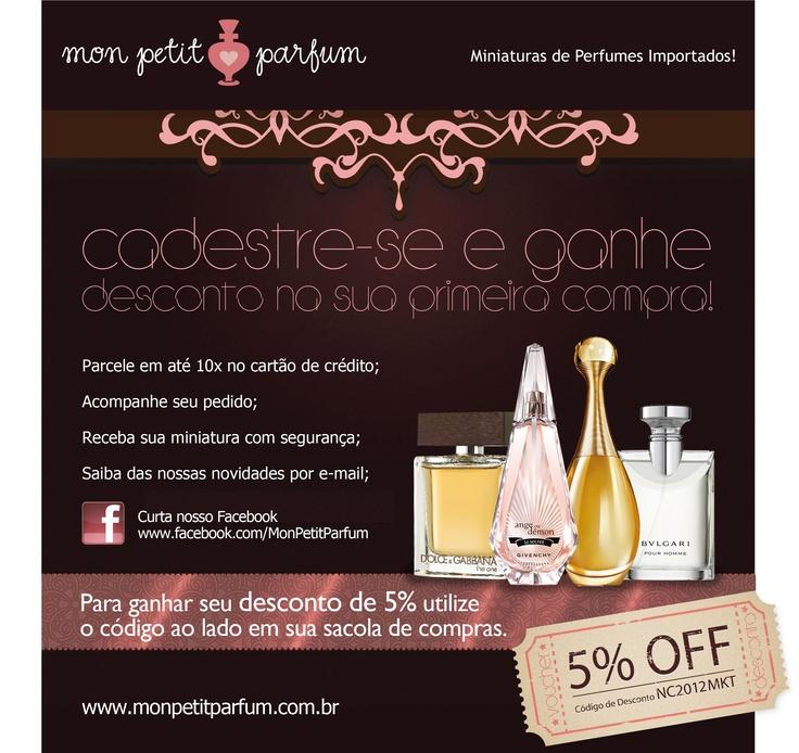 Cadastre-se no Mon Petit Parfum e ganhe 5% de desconto na primeira compra.