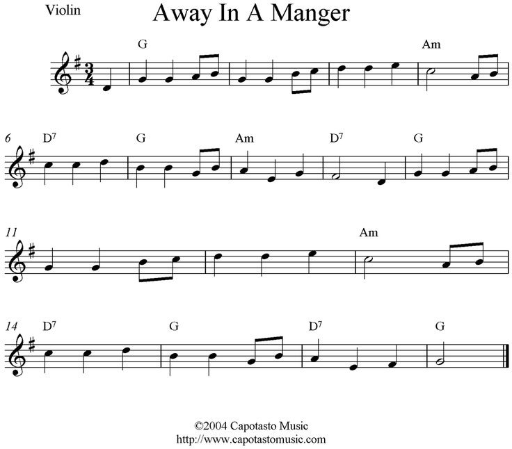 """Violin Christmas sheet music~ """"Away In a Manger"""" in the key of E"""