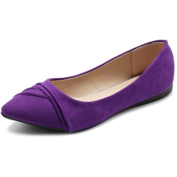 Ollio Women's Shoe Ballet Dress Faux Suede Pleated Pointed Toe Flat ($25) ❤ liked on Polyvore featuring shoes, flats, pointed toe ballet flats, ballerina flat shoes, pointed toe flats, ballerina shoes and wide shoes
