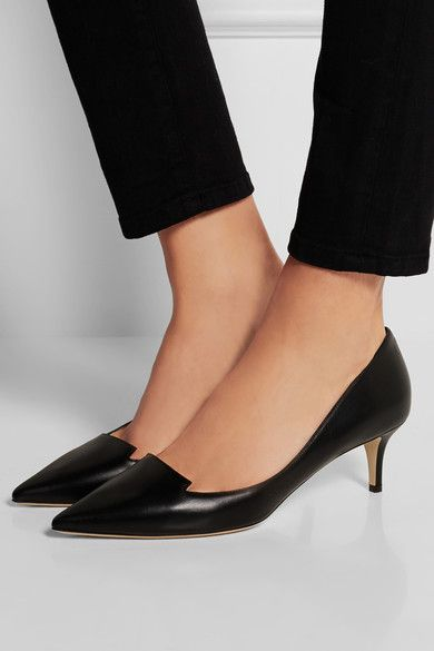 Kitten pumps or so comfortable and I have several pairs in my wardrobe. With the red leather suit, these Jimmy Choo shoes would work well.