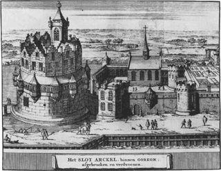 """Het kasteel """"De Blauwe Toren"""" in Gorkum, ca. 1660 (dus in Gorinchem, níet in Arkel)"""