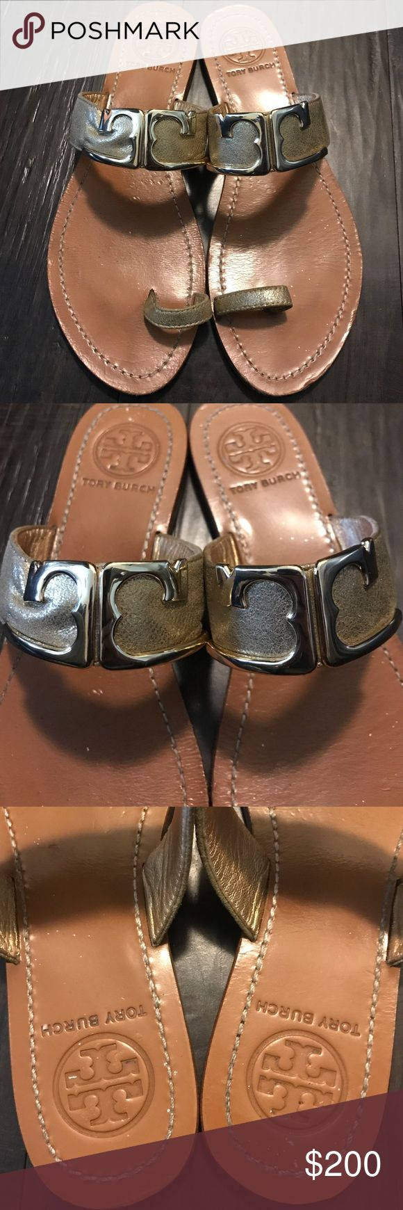 Tory burch Marcia Metallic Toe-Ring Sandal, Gold Have been wore a few times, in great condition. No box no trades Tory Burch Shoes Sandals