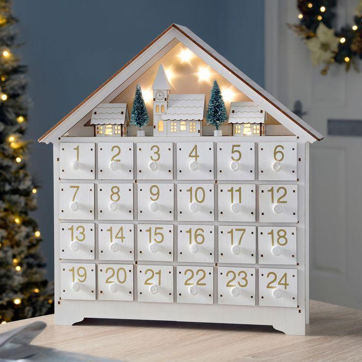 Pre-Lit Wooden Village Scene Advent Calendar Christmas Decoration, White