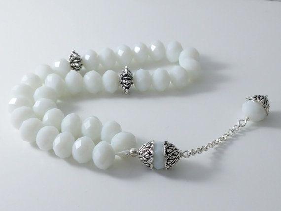 White and silver tasbih tasbeeh prayer beads by Zukhrufcreations, £9.54