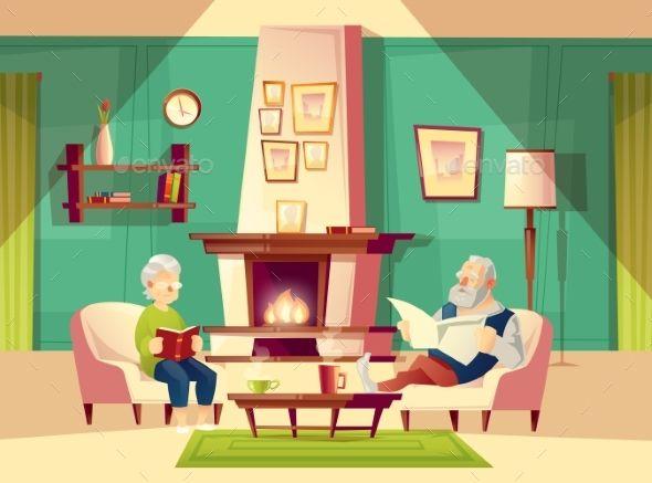 Vector Cartoon Old Man And Woman In Living Room Cartoon