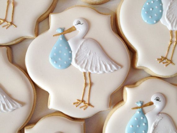 Elegant Pastel Stork Baby Shower Cookies - One Dozen  Decorated Sugar Cookies