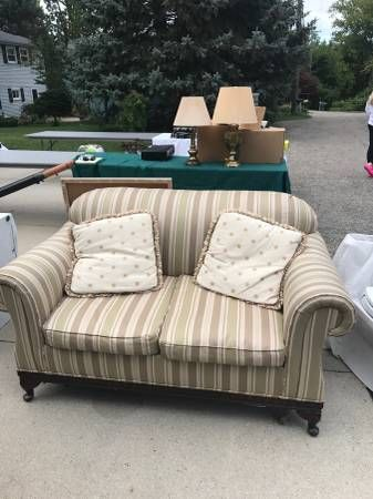6f44a8a45aa5 Lillian August Love Seat Sage Green and Beige Stripe - furniture - by owner  - sale