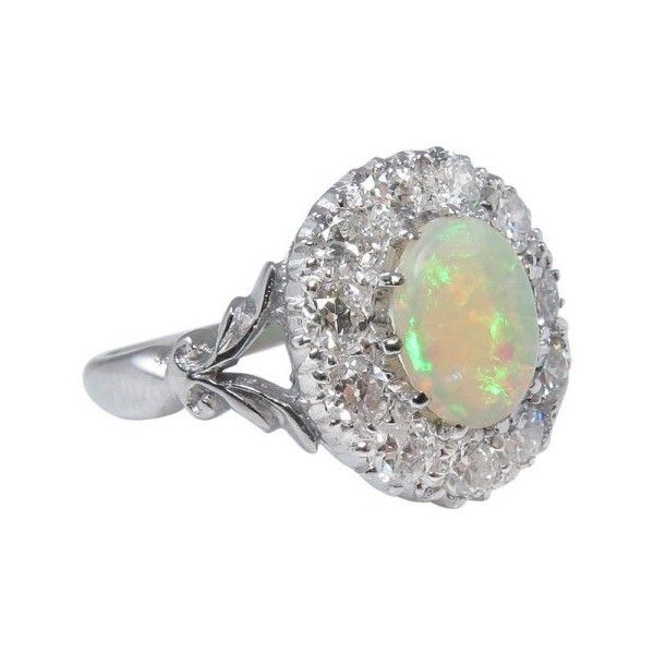 Pre-owned 18k White Gold Australian Opal 1.69Ct Diamond Cluster... ($2,990) ❤ liked on Polyvore featuring jewelry, rings, antique rings, pre owned engagement rings, white gold opal ring, 18k white gold ring and vintage white gold ring