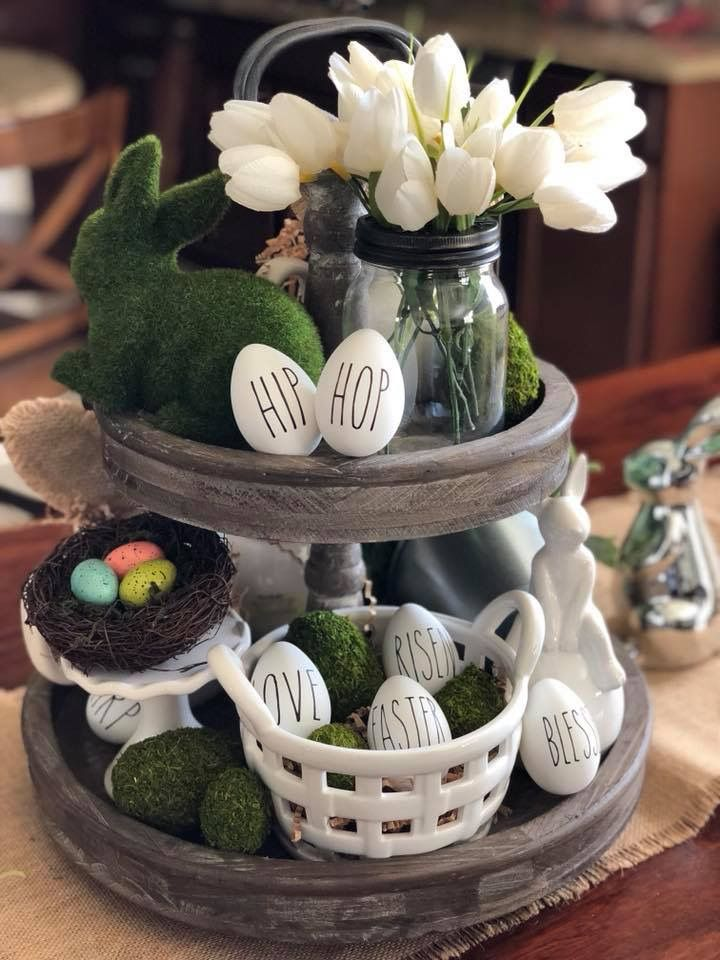 The Chic Technique Easter Tiered Tray Easter Centerpieces Easter Table Decorations Diy Easter Decorations
