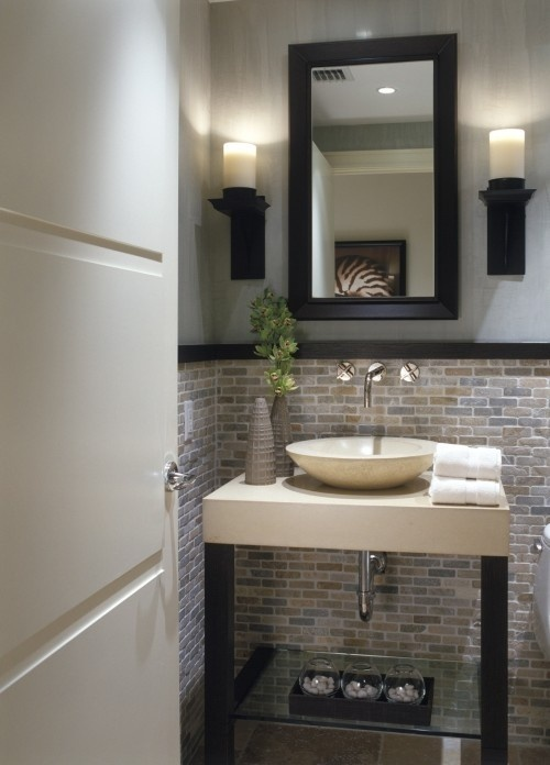 Half Bathroom Makeover Bathrooms Pinterest Stone