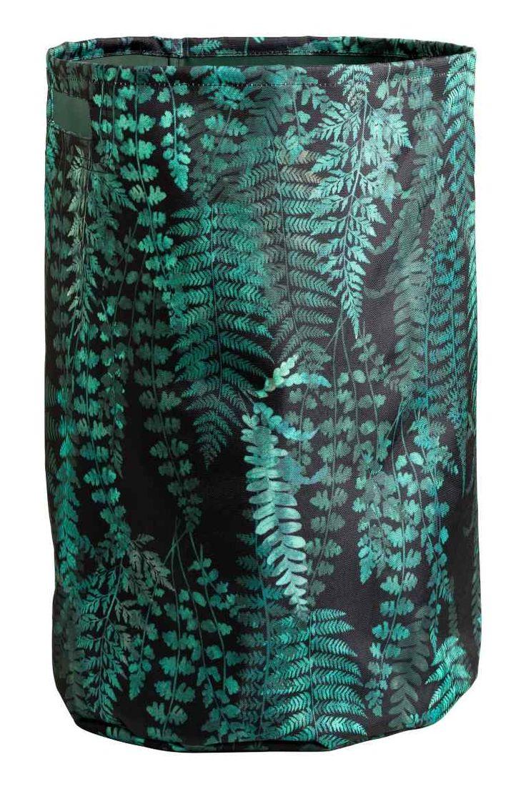 Patterned laundry basket - Black/Leaf - Home All | H&M GB 1