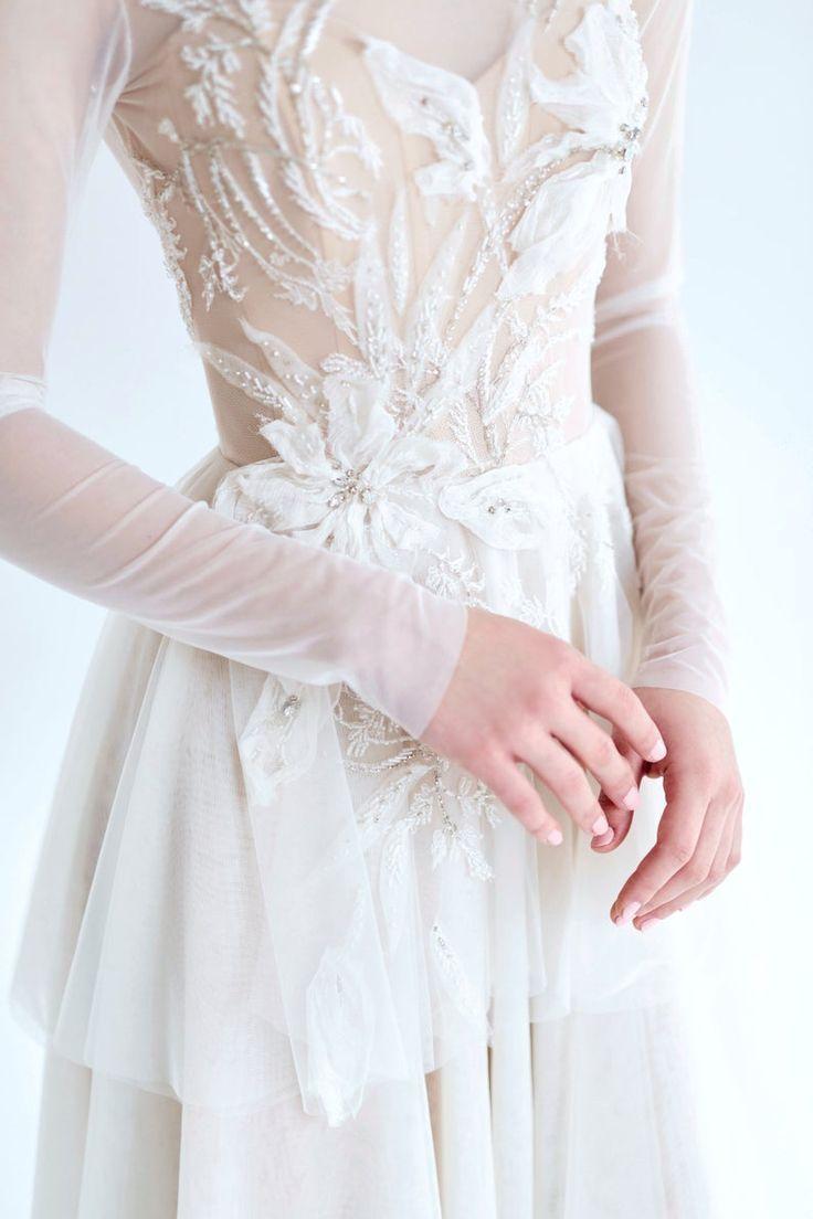 Ivory Mesh Wedding Dress July Long Sleeved Wedding Dress Ivory Lace Bridal Gown Open Back Wedding Dress Long Train Bridal Dress Wedding Dress Long Sleeve Wedding Dresses Lace Bridal Gown [ 1104 x 736 Pixel ]