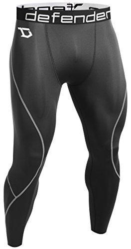 Defender Men's Compression Tights Pants Underlayer Skin Sports Hockey BS_L >>> You can find more details by visiting the image link.