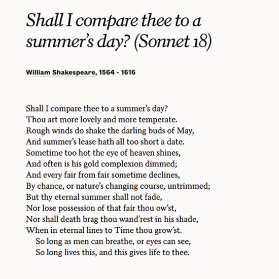 sonnet 18 william shakespeare analysis But what is william shakespeare's sonnet 18 actually saying shall i compare  thee to a summer's day thou art more lovely and more.