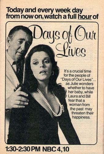1975 TV Ad - Days of Our Lives - NBC Soap Opera -  Will Julie Have Her Baby? (MacDonald Carey and Susan Seaforth Hayes)