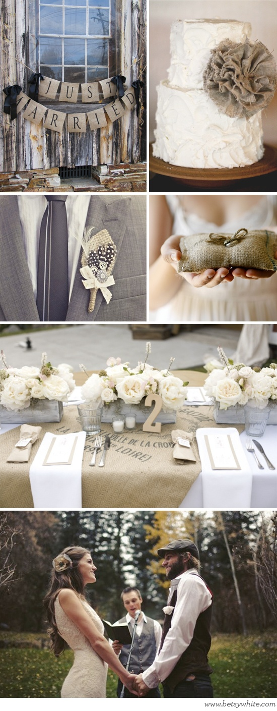 Burlap and twine touches. Table setting idea for the barn reception.