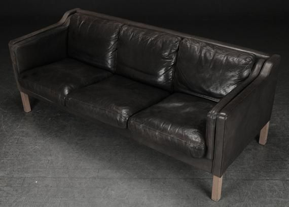 Stupendous Lovely Faded Black Coloured 3 Seater Leather Sofa Mid Gamerscity Chair Design For Home Gamerscityorg