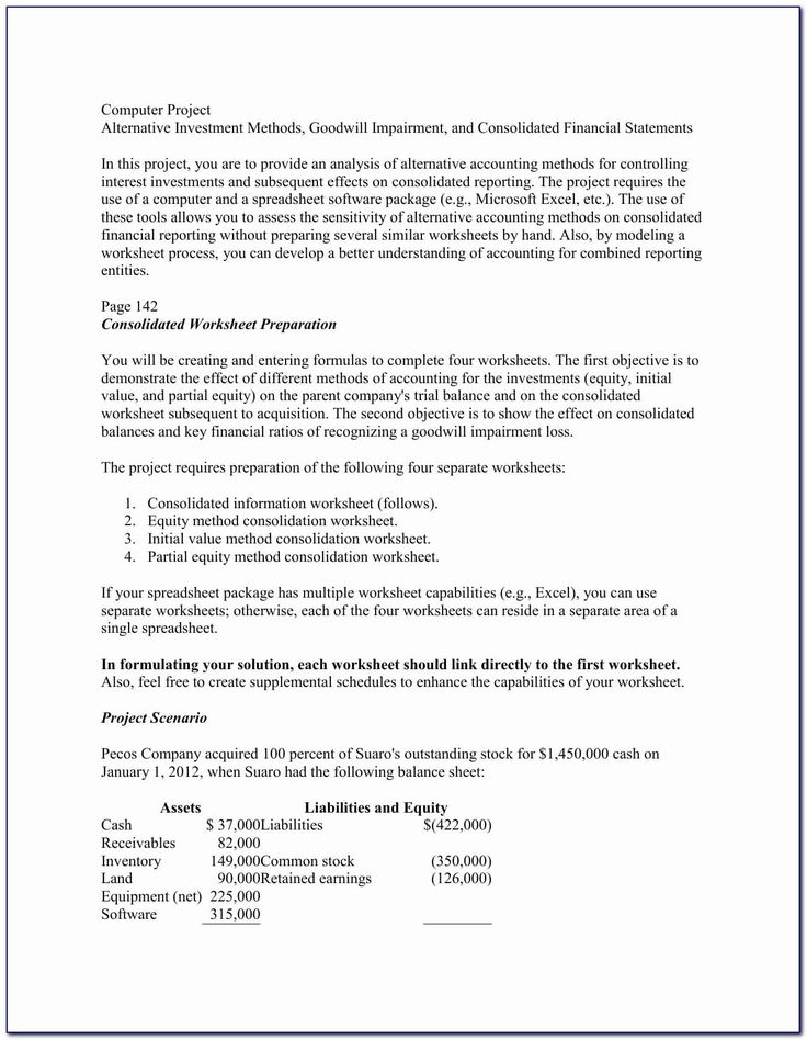 49++ Accounting acquisition consolidation worksheet Images